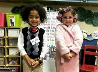 Holy Spirit Preschoolers Saylohr Murray and Bella Severance dress as if they were 100 years old for the 100th day of school of the school year.